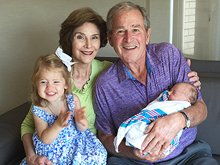 Aww! See George W. Bush with 'Honorary Texan' Granddaughters Mila and Poppy (PHOTO)