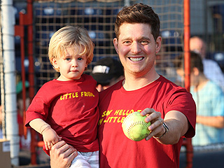Michael Bublé and His 'Little Friend,' Son Noah, Throw Out the First Pitch (PHOTOS)