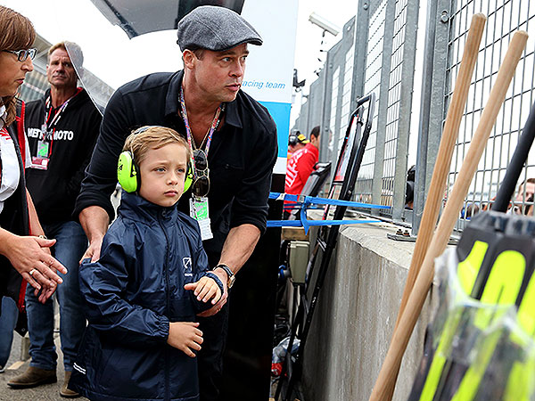 Brad Pitt and Knox at Race Track