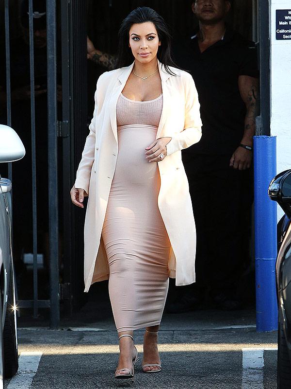 Pregnant Kim Karadshian Wears Peach Outfit In Sherman Oaks