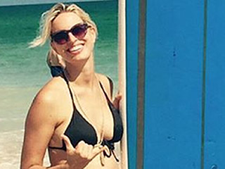 Karolína Kurková Shows Off Baby Belly in a Black Bikini (While 9 Months Pregnant!)