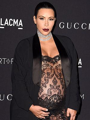 Pregnant Kim Kardashian Sheer Jumpsuit