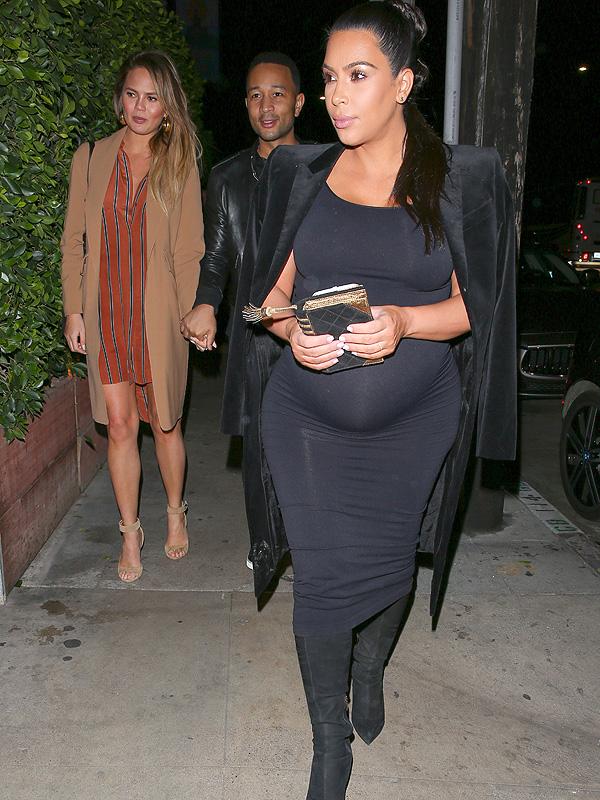 Kim Kardashian with Chrissy Teigen and John Legend