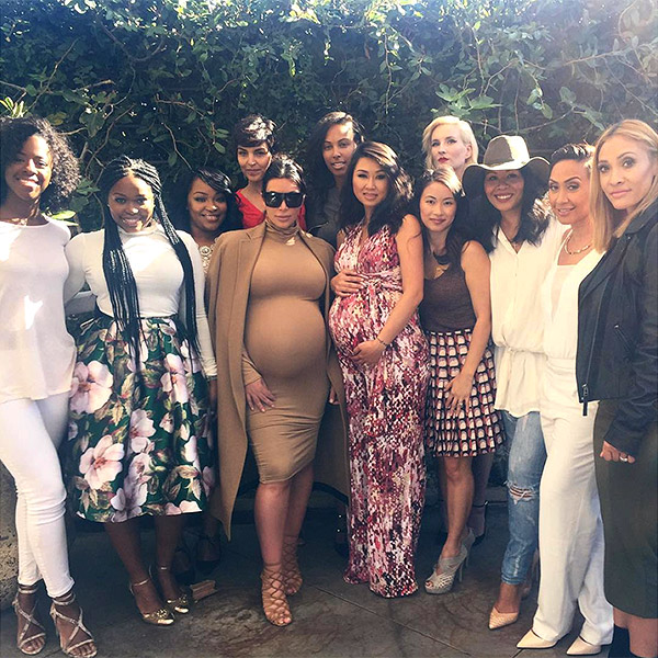Kim Kardashian (fifth from left) at brunch with friends