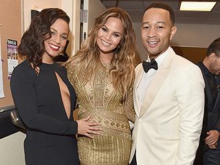Belly Rub! Chrissy Teigen's Baby Bump Feels the Love from Alicia Keys