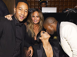 John Legend Celebrates His Birthday with Kim, Kanye and a Piano-Shaped Cake (Photos)
