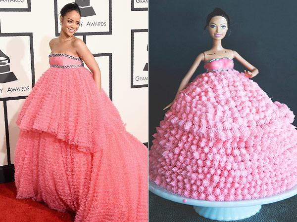 Grammys 2015 Rihanna Pink Dress Cake Fashion