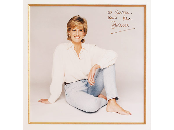 A signed picture of Princess Diana, to Darren