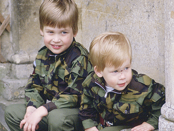 A young William and Harry