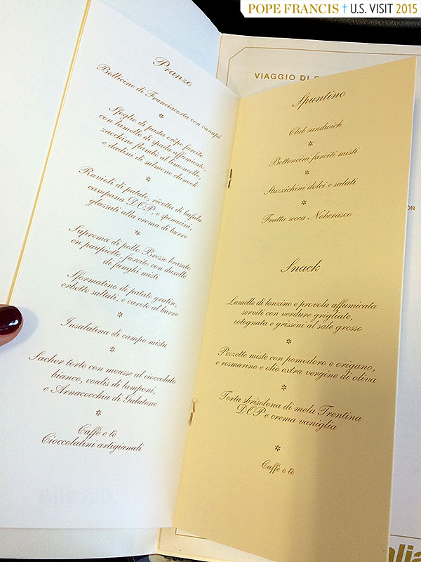 Pope plane wine menu