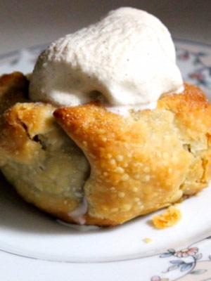 mini apple pecan pie in an apple