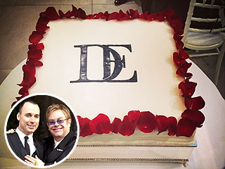 See Elton John and David Furnish's Monogrammed Wedding Cake