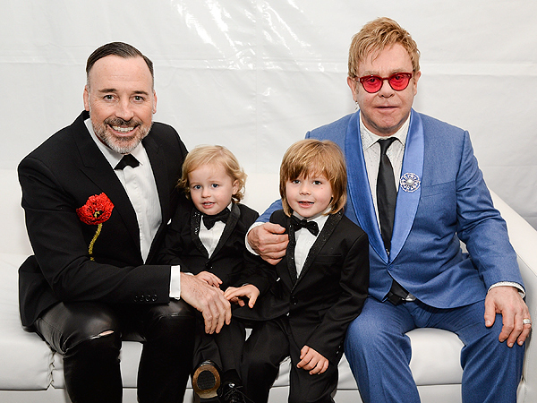 Elton John David Furnish AIDS Foundation Academy Awards viewing party
