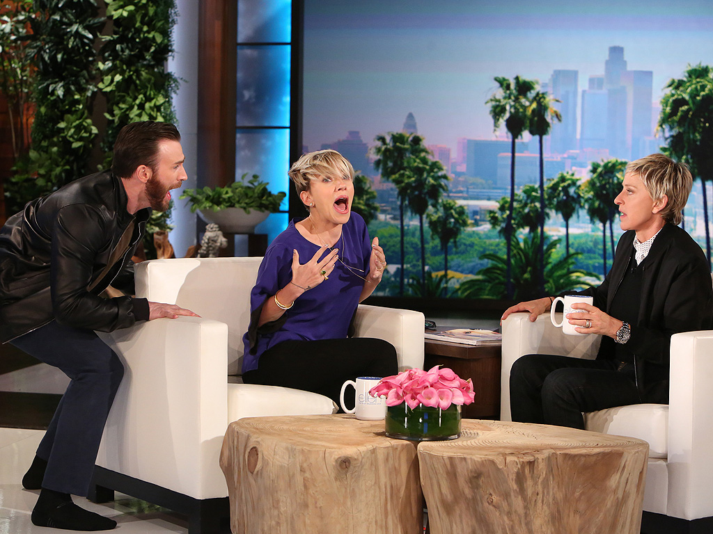 Chris evans scares scarlett johansson on the ellen degeneres show video - Ellen show videos ...