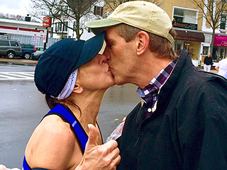 Boston Marathon Runner Finds Mystery Man She Kissed Along the Route – Via His Wife