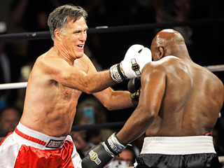 Mitt Romney Throws Punches – and Punchlines – While Boxing Evander Holyfield for Charity