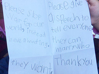 Obama 'Couldn't Agree More' with 5-Year-Old's Letter Asking for Peace, Marriage Equality