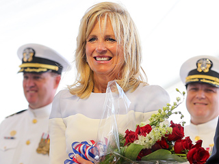 Second Lady Jill Biden Christens USS Gabrielle Giffords in First Public Appearance Since Beau's Funeral