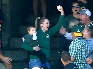 WATCH: Mom Makes Insane One-Handed Catch at an A's Game
