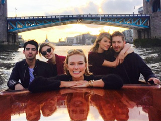 The Love Boat: Taylor Swift Cuddles Up to Calvin Harris in London – with Pals Gigi and Karlie (and Ex Joe Jonas)