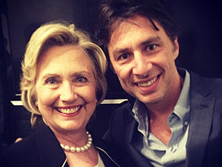 #ChillingWithBae: Hillary Clinton Takes a Selfie with Zach Braff at Campaign Event in N.Y.C.