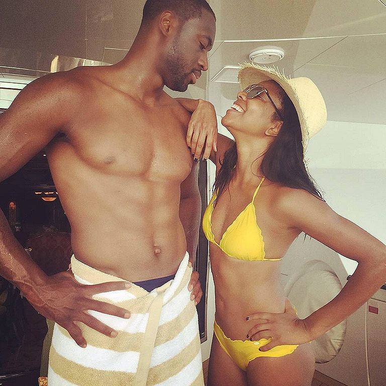 Gabrielle Union in a Bikini with Dwayne Wade Shirtless