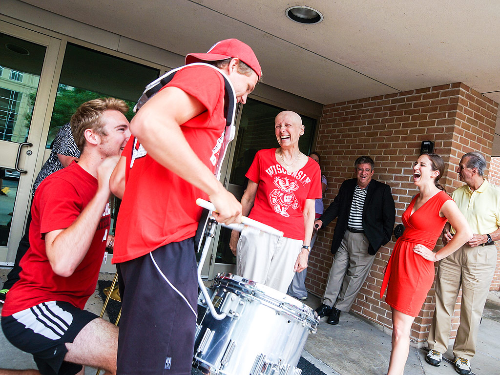 University of Wisconsin Marching Band Surprises Woman Leaving Chemotherapy