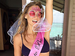 Bar Refaeli Wears an Itsy Bitsy Black Bikini with Wedding Veil
