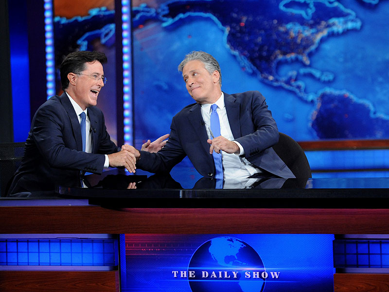 FROM EW: Jon Stewart and Stephen Colbert Join Forces to Mock 'Angry Creamsicle' Donald Trump