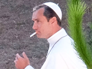 Smokin' Hot Pope! Jude Law Lights Up While Dressed as the Pontiff on Set of The Young Pope in Rome