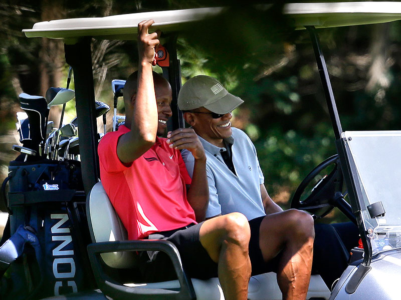 President Obama Enjoys Game of Golf with NBA Stars Ray Allen and Alonzo Mourning| Politics and Current Events, Barack Obama, Michelle Obama