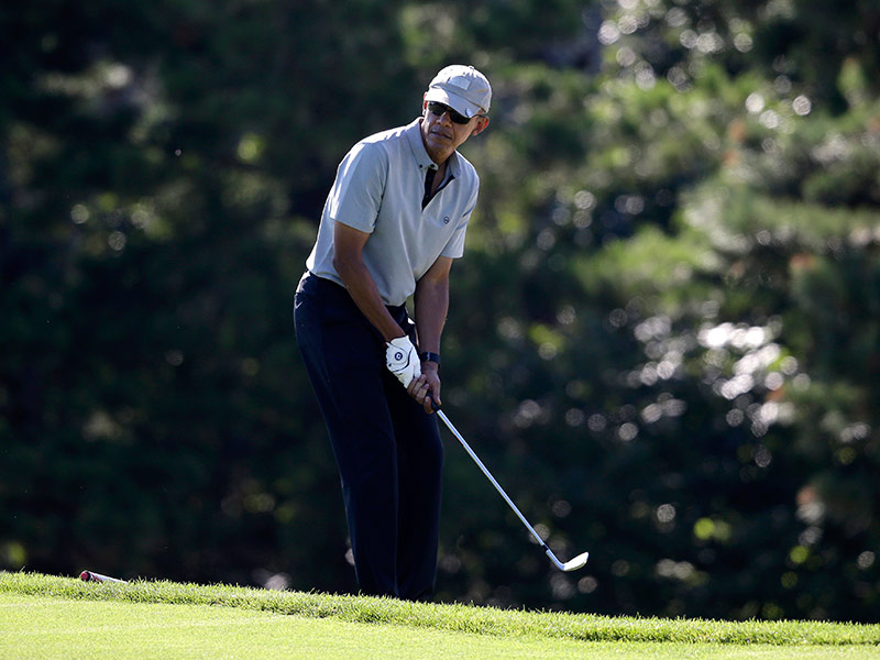 President Obama Plays Golf With NBA Stars Ray Allen, Alonzo Mourning