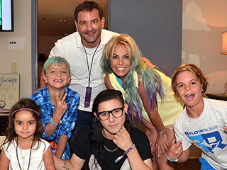 Britney Spears Debuts Multi-colored Hair While Skrillex Makes Her Boys' 'Dream Come True' During Concert Visit