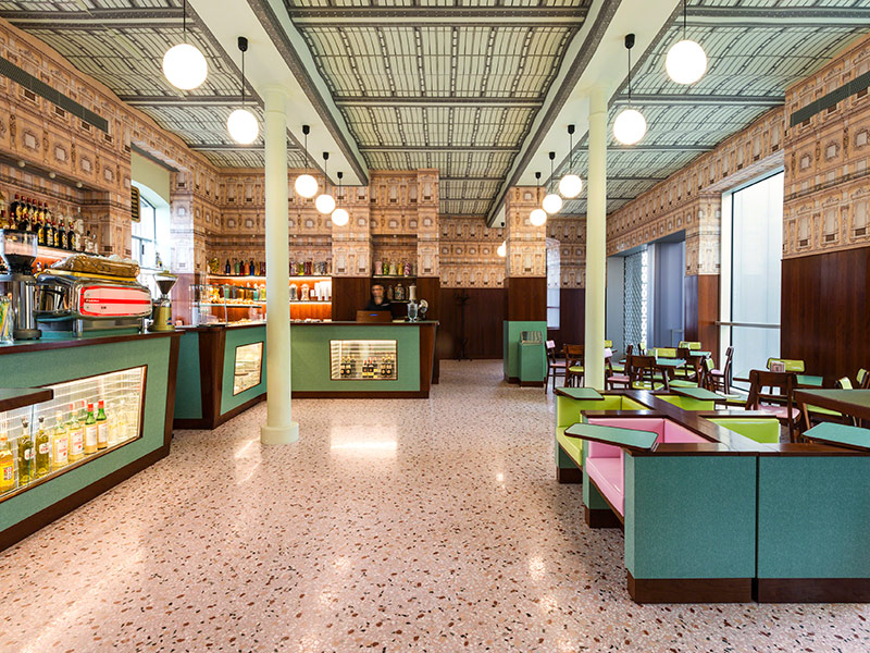 Wes anderson designs a bar in italy for prada look inside for Things in a coffee bar