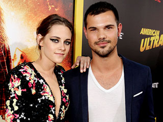 Twilight Twosome! Kristen Stewart and Pal Taylor Lautner Reunite at Her 'American Ultra' Premiere