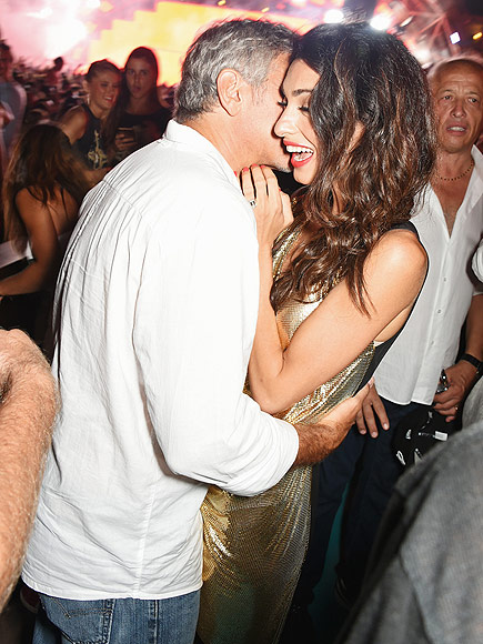 George and Amal Clooney in Ibiza with Rande Gerber and Cindy Crawford