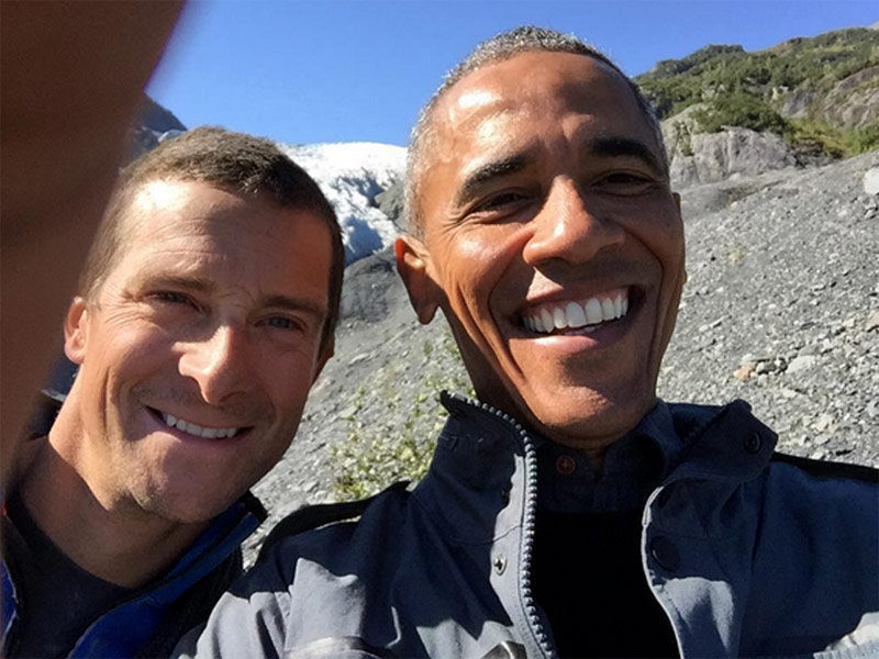 President Poses for Selfie with Survival Expert Bear Grylls in Alaska