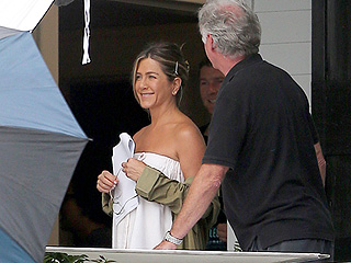 See Jennifer Aniston Wearing Nothing But a Towel on the Set of Mother's Day