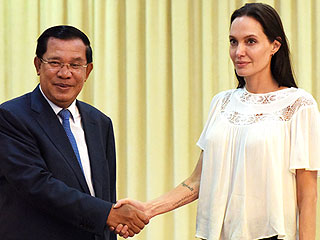 Angelina Jolie Pitt Meets Cambodian Prime Minister Hun Sen to Discuss Upcoming Movie She's Filming with Help from Son Maddox