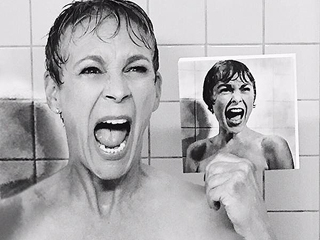 FROM EW: Jamie Lee Curtis Recreates Mom Janet Leigh's Iconic Psycho Shower Scene for Scream Queens | Jamie Lee Curtis
