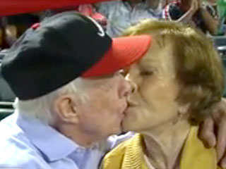 Kiss Cam! Jimmy Carter and Wife Rosalynn Smooch at Atlanta Baseball Game