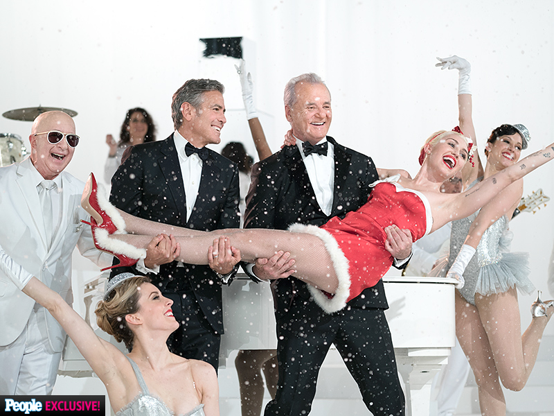 See the First Look Photo of Miley Cyrus and George Clooney in Bill Murray's A Very Murray Christmas| Bill Murray, George Clooney, Miley Cyrus