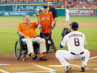 PHOTO: George H.W. Bush Throws Out First Pitch at Astros Playoff Game in First Public Appearance Since Neck Injury