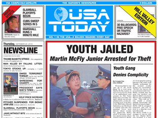 Extra, Extra! USA Today Publishes Back to the Future Front Page Spoof as Seen in Movie's Sequel