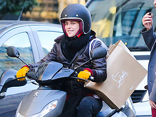 Kristen Stewart Speeds Around Paris Traffic on a Motor Scooter While Filming New Movie: See the Zippy Pics!