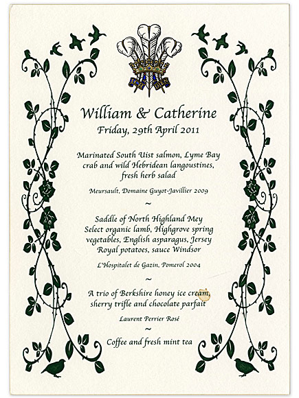 Prince William and Princess Kate's Wedding Menu for Sale! What Was Served on Their Special Day?| The British Royals, The Royals, Kate Middleton, Prince William