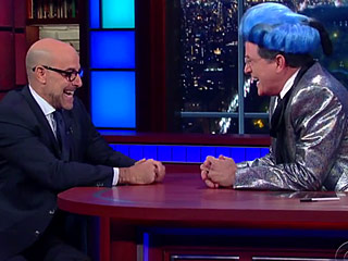 FROM EW: Stanley Tucci Confronts Stephen Colbert on His Hunger Games Impersonation