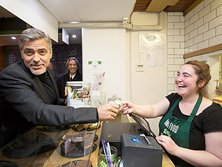 One Sandwich, Please, with a Clooney on the Side: George Visits Scottish Café to Help the Homeless