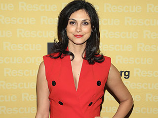 Pregnant Morena Baccarin Steps Out in Chic Red Dress that Conceals Bump