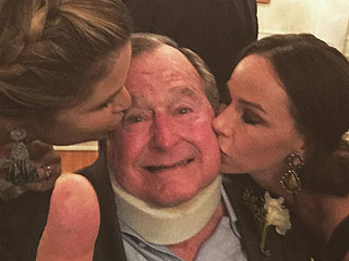 Pucker Up, Mr. President! George H.W. Bush Gets a Kiss from His Granddaughters at Family Wedding